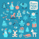 Set of Color New Year Icons II Stock Photo