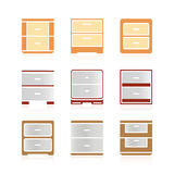 Set of color nightstand Royalty Free Stock Photos
