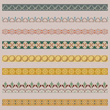 Set of color ornate borders. Pattern brushes are included vector illustration