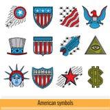 Set of Color Outline Web Icon. Symbols of America USA Stock Image