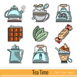 Set of Color Outline Web Icon. Tea Time stock illustration