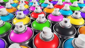 Set of color paint cans. Closeup render 3d Royalty Free Stock Photography