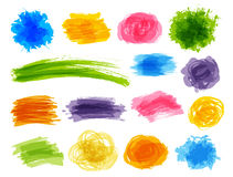 Set of color paint elements Royalty Free Stock Photos