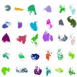 Set of color paint, ink, grunge, dirty brush strokes. Vector Stock Image