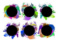 Set of color paint, ink, grunge, dirty brush strokes. Vector Royalty Free Stock Photography