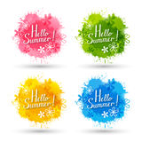 Set of color paint splashes Royalty Free Stock Photo