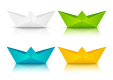 Set of color paper boats Stock Photo
