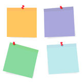 Set of color paper sheets with pins isolated on background. Vector illustration Royalty Free Stock Image