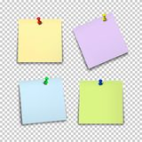 Set of color paper sheets with pins  on transparent background. Royalty Free Stock Image