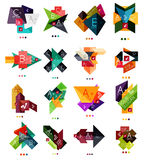 Set of color paper style business infographic templates. Glossy geometrical elements with text - presentations or banners Royalty Free Stock Photos