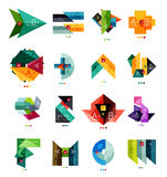 Set of color paper style business infographic templates. Glossy geometrical elements with text - presentations or banners Royalty Free Stock Image