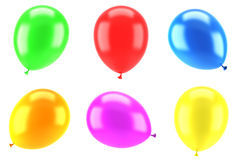 Set of color party balloons isolated on white. Background Stock Photo