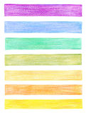 Set of color pencil graphic elements. Isolated Royalty Free Stock Image