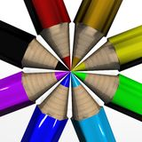 Set of color pencils. The 3D image royalty free illustration