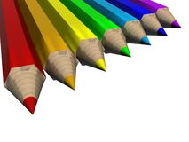 Set of color pencils. The 3D  image Royalty Free Stock Photo