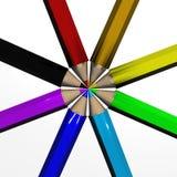 Set of color pencils. The 3D  image Stock Photos