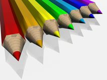 Set of color pencils. The 3D  image Stock Images