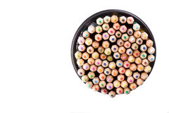 Set of color pencils in a black office bin Royalty Free Stock Images