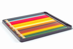Set of color pencils in box on white background Royalty Free Stock Image
