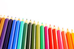Set of color pencils diagonal Royalty Free Stock Photo
