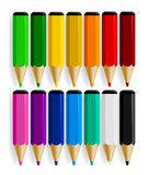 Set of color pencils with drop shadow isolated on white backgrou Royalty Free Stock Images