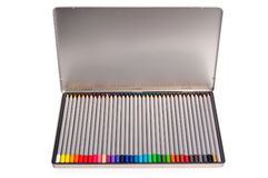 Set of color pencils in a metal box. Stock Images