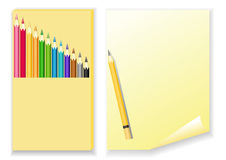 Set of color pencils and paper. Royalty Free Stock Image