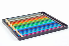 Set of color pencils in pencil case Royalty Free Stock Photo
