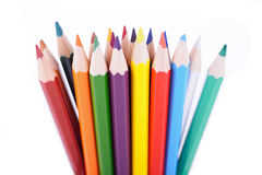 Set of color pencils placed in random order Royalty Free Stock Photography
