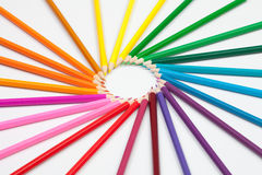 Set of color pencils in shape of sun Royalty Free Stock Images