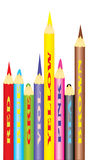 Set of color pencils. Vector. Royalty Free Stock Photography