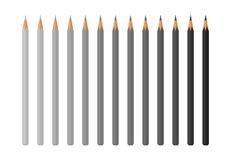 Set of Color Pencils Vector Illustration isolated. Set of colorless pencils vector illustration isolated on white. Drawing instruments for creating pictures Stock Illustration