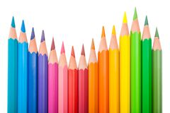 Set of color pencils wave-shaped Royalty Free Stock Images