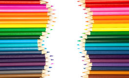 Set of color pencils on white. Background Royalty Free Stock Image