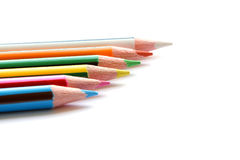 Set of color pencils on white Royalty Free Stock Photos