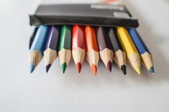 Set of color pencils on a white background. Set of color pencils on the white background Royalty Free Stock Images