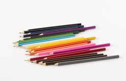 A set of color pencils. On a white background Stock Photography