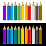 Set of Color Pencils on White and Black Background Royalty Free Stock Photos