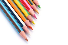 Set of color pencils on white Royalty Free Stock Photography