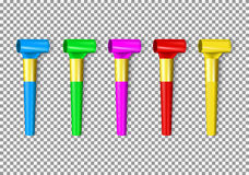 Set of color penny whistle Stock Image