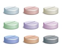 Set of color pill icons Royalty Free Stock Photos