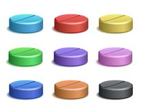 Set of color pill icons Stock Photos