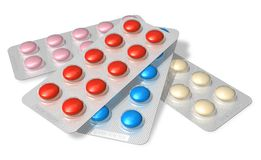 Set of color pills in blister packs Stock Photos