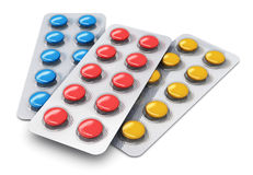 Set of color pills in blister packs Royalty Free Stock Photography