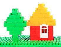 Set color plastic building blocks on white isolated background Royalty Free Stock Image