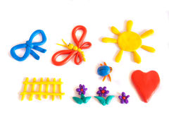 Set of color plasticine models. Isolated on white background Royalty Free Stock Photos