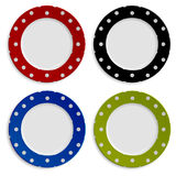 Set of color plates with polka dot pattern Stock Image