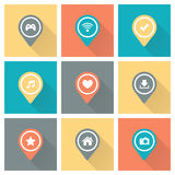 Set of color pointers and markers for map. Set of color pointers and markers for map and plan with icons on color background with long shadow. Vector royalty free illustration