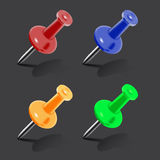 Set of color push pins Stock Image