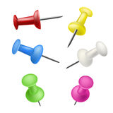 Set of color pushpins Stock Photo